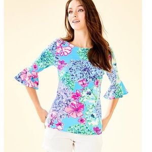 Lilly Pulitzer Sz L Fontaine bell sleeves blouse